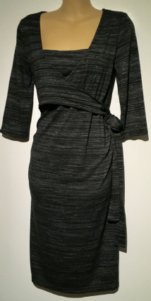 BLOOMING MARVELLOUS GREY MARLED WRAP CHEST NURSING DRESS SIZE 14